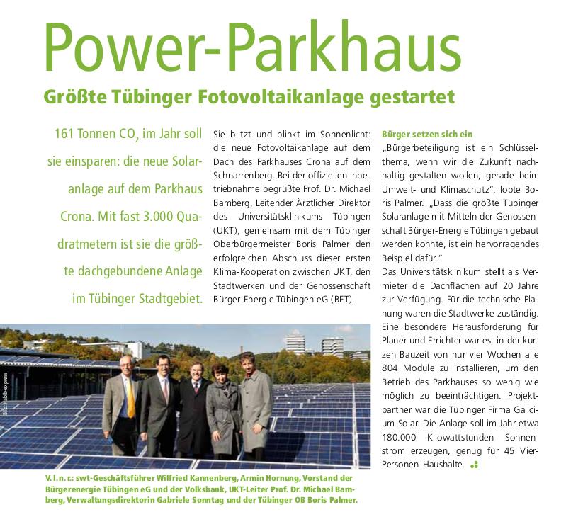 Uni Klinikum Parkhaus erfolgreiche Solarinstallation